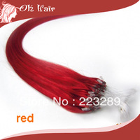 "Hot Bright Red Hook Loop Micro Bead Remy Huair Extensions 100S/pack 16""-26"" All Color Available 0.4g/s 0.5g/sman H"