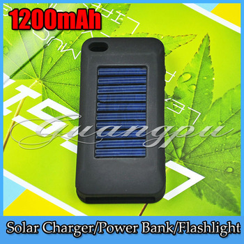1200mAh Silicone Case Solar External Battery Back Backup Case Cover Charger for iPhone 4/4S/iPad/GPS