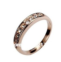 Wholesale Italina Simple Sparkling Rhinestone Crystal Channel Setting Ring With 18K Yellow Gold Plated Gold Free Shipping