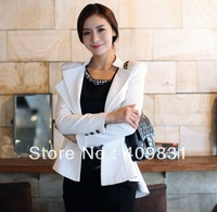 2013 OL Korean Career Apparel Women Blazer Stylish Suit Casual Slim White buckle Business Blazers Lady's Swallowtailed Coat