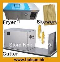 Hot Sale 3 in 1 110v 220v Electric Tornado Potato Cutter + Electric Deep Fryer + Bamboo Skewers