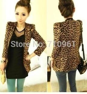 2015 S M L XL XXL Spring Autumn Women Leopard Jacket Slim blazer Fit One Button Jackets With Shoulder Pad Suede Outwear