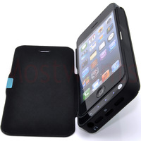High capacity 4200mAh Power Bank Battery Backup Charger Case + Stand + Leather Cover for iPhone 5 Free shipping