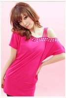 Popular Rhinestone Embellished Off-shoulder T-shirt Rose free shipping 	MZ11120407-4