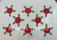 No.224-P High quality embroidered table placemat set red rose for home hotel wedding (30*45cm  )free shipping