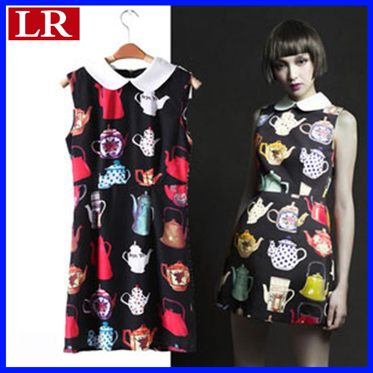 2013 Summer European and American style New Casual Elegant Teapot Back zipper Sleeveless One piece dress Free shipping(China (Mainland))