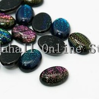 Handmade Dichroic Glass Oval Cabochon Mixed Color 30mm wide 40mm long 9mm thick