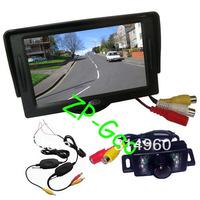 "New 7 IR LED Wireless Reverse Reversing Camera + 4.3"" LCD Monitor Car Rear View Kit Free Shipping"