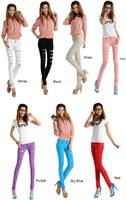 2014 New Fashion Women Cotten Denim Punk Ripped Jeans Sexy Slim Cut off Leggings Pants 5 Color