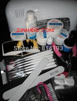 Professional Full Set UV Gel Kit Nail Art Set + 9W Curing UV Lamp Dryer Curin  tools