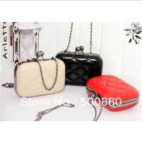 Free Shipping 2013 candy color Women's handbag plaid chain day clutch evening bag mini handbag