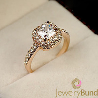 Fashion Designer Sparking 18K Gold Plated Wedding Rings for Women High Quality  Free Shipping