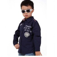 Boys Cotton White / Blue Shirts Children Long-Sleeve Clothing Size 110-150 cm Spring / Autumn High Quality Kids Casual Tops