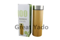 Eco-friendly bamboo stainless tea thermos with infuser free shipping