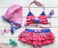 Free shipping Beautiful girls swimwear child swimwear bikini piece set hot springs bikini swimwear split  bathing suits
