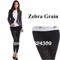 Free shipping Winter Zebra Grain False through meat Warm Pantyhose Double Plus velvet Thicken Terry Hollow Leggings soft cozy
