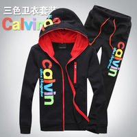 Free shipping 2013 latest fashion casual sport suit for men hooded cardigan jacket sports pants