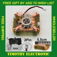 Hot! FREE SHIPPING 55mm 2 PIN Aluminum Snowhite Cooling Fan Heatsink Cooler for PC Computer CPU VGA Video Card 10PCS/LOT #FS006
