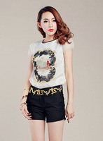 2013 Fashion Women Summer T Shirt Organza Chiffon Slim Round Neck Embroidery T-Shirts Black White Golden Flower Embroidery