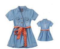 Brand new Children's Dresses summer 2013 children short-sleeve denim soft cloth knee-length dresses with polka dot waist belt