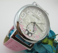 2013 New fashion Hello Kitty watch Kids leather with Kitten Cartoon dial Ladies watch 5 colors, Christmas gifts