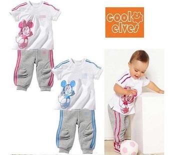 Free shipping!(Retail)baby infant short-sleeved cotton cartoon T-shirt+long pants 2 p set sportwear Cartoon Mickey/Minne18Mth-5T