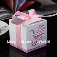 free shipping populer pink 100pcs ribbon Wedding favor r box gift box candy boxes Best candy box