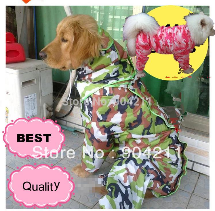 New! BIG sizes-Fashionable camouflage Pet dog cat raincoat,Teddy/Golden Retriever/Poodle rain cape/coat, free shipping+gifts!(China (Mainland))