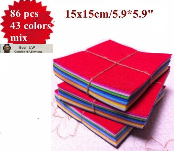 "SUPER DEAL! 86 pieces /lot 43 Colors 100% Polyester Nonwoven Felt Fabric 15x15cm/5.9""x5.9"" Felt Cloth crafts 1MM(China (Mainland))"