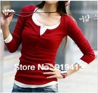 free ship 2013 new women basic shirt 7color spring autumn fashion slim 5 buckle long sleeve round collar t-shirt tops blouse 285