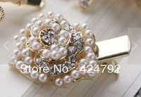 Free Shipping MOQ USD10 Korean bow roses clip pearl side clip / hair pin