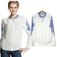 Women's Chinese Style Blue And White Porcelain Vintage Print Chiffon Shirt Blouse Long Sleeve T-Shirt Free Shipping RL002