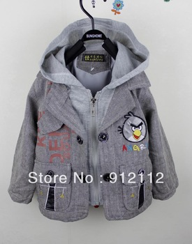 free shipping !wholesale 3pcs/lot cute cartoon design baby boy's long sleeve  two layer jacket/coat ,for Autumn/spring