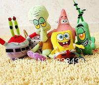 M'lele Fsahion Dolls Spong Bob Square Pants Family Patrick Star the Octopus Brother Crab Lint Toy , 6pcs/set free shipping
