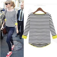 2015 New Fashion Women's Casual Cotton Swallow-Tailed Black and White Striped T shirt O-Neck  Plus Size Tops Free Shipping