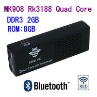 MK908 Quad Core Rk3188 Cortex-A9 1.8GHz 2GB / 8GB Bluetooth Android mini PC Google TV Box Dongle Stick Free Shipping