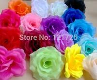 10 cm Artificial flower Silk Rose Heads Wedding Christmas Party 14 Colors Diy Jewlery Brooch Headwear