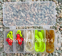 Free shipping 8pcs Jig head fihing hook+15pcs soft fishing lure+1pc Plastic fishing tackle box