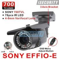 Free Shipping! 78 IR Security Surveillance Outdoor CCTV Camera 700TVL EFFIO-E SONY Exview CCD Varifocal 4-9mm Lens