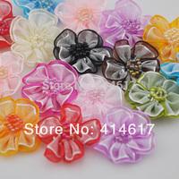 40pcs double fabric flower party craft appliques wedding decoration AP070