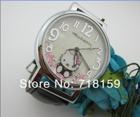 Holiday sales Fashion Hello Kitty watch Children Digital Cartoon Dial Leather band Quartz watch Female table TOP quality gift