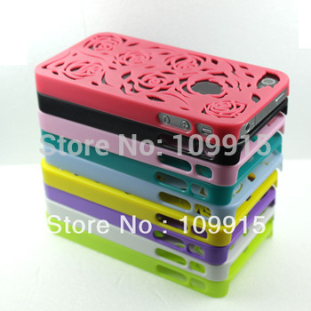 10pcs/lots***Hard hollow roses phone back protective case cover Skin for iphone 4 4G 4GS JS0440