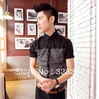 2013 New Style Brand Shirt For Men Summer Short-Sleeve Cotton Shirt Size:M  L  XL  XXL