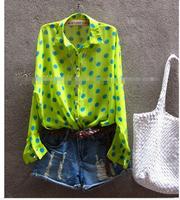2014 News Arrival Fashion Women long Sleeve tops Thin Loose Chiffon shirts blouse Free shipping Lovely Dot Printing