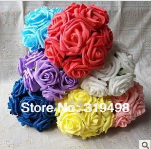 Free shipping New (100pcs/lot) Artificial Simulation PE Foam EVA Single Head Camellia Rose Flower 8cm Wedding Decoration