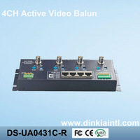 Free Shipping Security 4 channel Active UTP Balun Video Receiver BNC Connector via CAT5 ,3 Years Warranty, DS-UA0431C