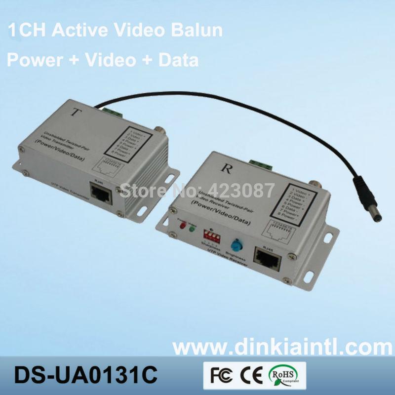 1CH PoE UTP Active balun Video Power Data Transmitter +UTP Video Receiver for CCTV camera DS-UA013C(China (Mainland))