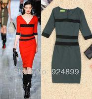 Attractive contrast Women Stripe Slim zipper Open Back Career Deep V-neck Dress Size S,M,L,XL