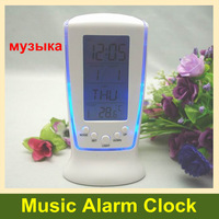 Wholesale cheap table alarm clock square 510 blue backlight music clock with retail packing