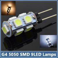 10 pcs Mini G4 9 LED lamps 2W SMD 5050 Crystal Chandelier Spotlight Pendant DC12V refrigerator light Indicator Desk Bulbs